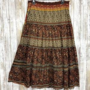 Heart Soul Brown Printed Midi Skirt